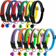 Reflective Charm and Bell Cat Collar Safety Elastic Adjustable with Soft...