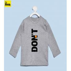 "The Shop - DON""T Full Sleeves Grey T-Shirt For Kids - DTG-FS1"
