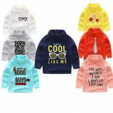 Pack of 2 Kids Random Color Printed Hi-Neck
