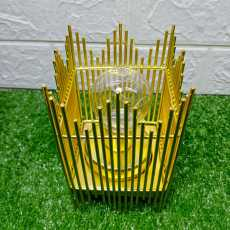 Golden Cage With Bulb For Home Decor Party Decor Iron Candle Holders Wedding...