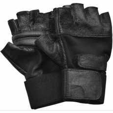 Gym Wrist Wrap Lifting Leather Gloves - Black