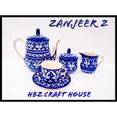 Zanjeer 2 Blue Pottery Hand Made Tea Set |005