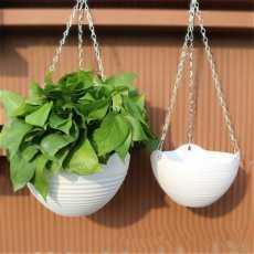 Two pieces of Plastic Hanging Basket Flower Pot 16x10cm Garden Plant Chain...