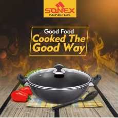 Sonex Non Stick Cooking Wok With Glass Lid - Black