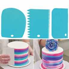 3 Pcs Cake Scrapers Baking Comb  (Plastic Pack of 3)