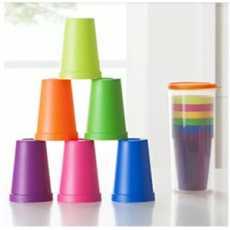 8pcs Rainbow Plastic Cups set with Lid