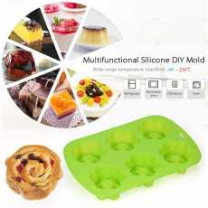 6 Cups Silicone Multifunction Cake Mould Flower Shape Tray