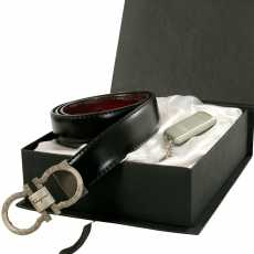 (Gift Box Of 2) Black & Tan (Convertible) Leather Belt (Grey Matte Buckle)...