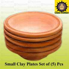 Small Clay Plates Set of (5) Pcs  Clay Dining Plates  Clay Pot  Multi Purpose...