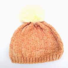 Winter wool cap kids Brown Line