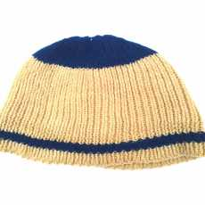 Winter wool cap kids Brown Blue Line