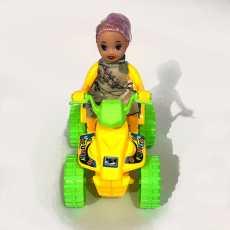 Doll on Quad Wheel Bike Toy - 4.5 Inches - Pull String (Dori) Powered