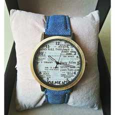 Newspaper Jeans Strap Watch