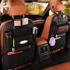 Back Seat Organizer In Leather 1 piece - Black