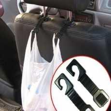 Vehicle Seat Plastic Hard Duty Car Hooks - Black (4-Hook Pack)