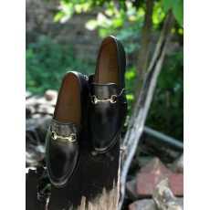 SKU:4001-Black Cow Leather Formal Loafer Style
