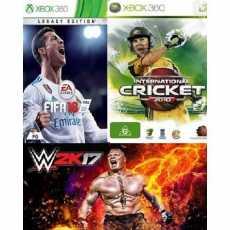 WWE 17+FIFA 18+CRICKET 10-XBOX 360