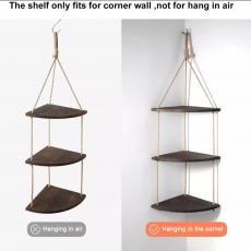 Corner Shelf 3 Tier Rope Wood Wall Floating Shelves Rustic Organizer