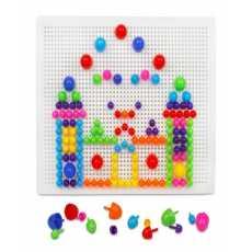 Mushrooms Nails Diy Peg Pegboard Toys Colourful Building Bricks Jigsaw Puzzle