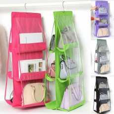 Good Quality 6 Pocket Folding Hanging Handbag Purse Storage Holder Anti-dust...