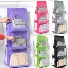 New 6 Pocket Folding Hanging Handbag Purse Storage Holder Anti-dust Organizer...