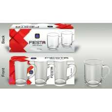 Set of 6 Fiesta Tea Mugs Transparent Glass 260 ML For Green Tea and Coffee