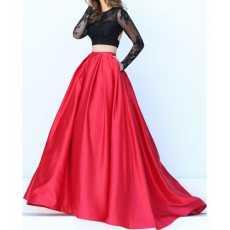 Women's Koeran Satin Silk Pleated High Low Long Skirt.