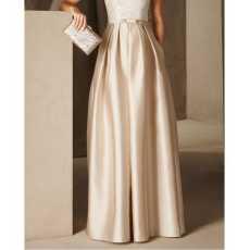Women's Beige Silk Pleated Long Skirt.