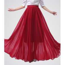 Crimson Red Chiffon Long Skirt