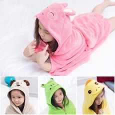 Comfortable Lovely baby bath towel cute animal shape hooded baby bathrobe...