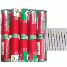 10 Red Sewing Thread with 15 Free Needles