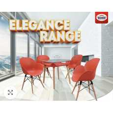 Elegance Table Set Range Oval Shell Chair with Wood And Elegant Table