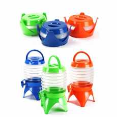 Fold able water container with tap