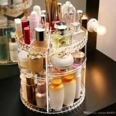 Women Makeup Organizer 360-Degree Rotating Cosmetic Storage Display Case...