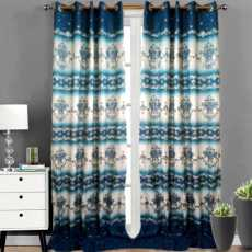 Pair Of Printed Curtains - (BLUE &  WHITE)