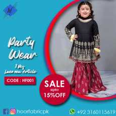 New Kids Collection Party Wear Lawn Design | Hoor Fabric | HF001
