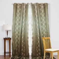 Pair Of Shafoon Jacquard Curtain