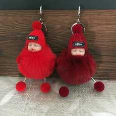 Pack Of 2 Pom Pom Doll Keychain For Bags - Beautiful Pompom Doll Key Chain