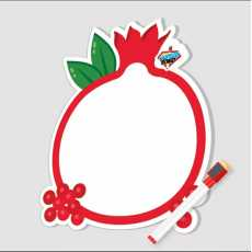 """""""Pomegranate"""" Style White Board  Both Sided With Marker & Eraser  9.85 x 12.5"""""""