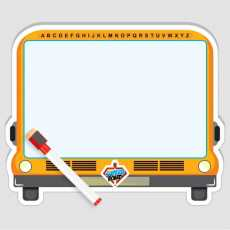 """""""Bus"""" Design White Board  Both Sided With Marker & Eraser  9.85 x 12.5"""""""