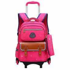 School Trolley Bag with Pouch for Girls ( Kids Collection ) 6 Wheel Bag