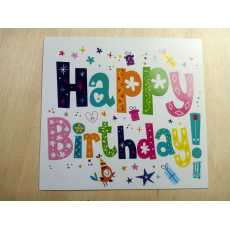 Colorful Happy Birthday Card Greeting Card Pack of 1