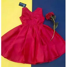 Kids Party Wear Raw Silk Red Frock