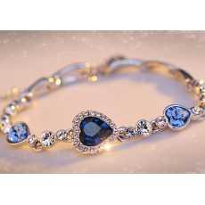 Blue Crystal Heart Bracelet, Bracelet for girls, Bracelet for women, Bracelet...