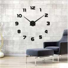 3D Wall Clock Quartz DIY Living Room Watch - Black
