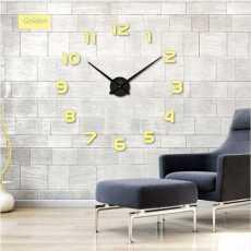 Modern Home Decorative DIY 3D Wall Clock 3d Acrylic Mirror Stickers - Golden
