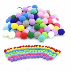 100 Pcs of Pom Pom Fluffy Ball for Arts and Craft-Multi color 15mm~18mm Size