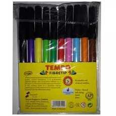 Tempo FIber Tip Marker / Colouring Marker Pen Multicolor (10 Pcs / 1 Pkt)