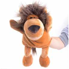 Lion Hand Puppets Toy- Stuffed Animal Toys for Kids- 12 Inches Brown Color