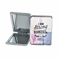 Small Pocket Mirror- Foldable Mini Makeup Mirror- 2 in1 Stainless Steel Zoom 5X